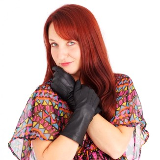 Woman In Leather Gloves